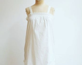 Vintage victorian french lace white cotton dress tunic S/M
