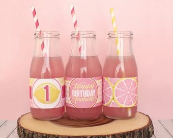 Pink Lemonade Printable Water Bottle Labels (PDF File only)