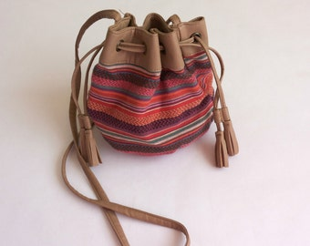 Vintage Drawstring  Bag, Striped Bag, Textile Bag, Shoulder Bag, Crossbody Bag,Festival Bag