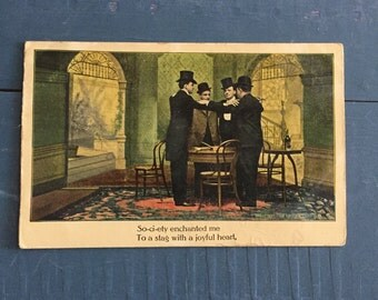 Vintage Ephemera Postcards, Stag Party Postcards Bachelor Ephemera, Steampunk Postcards, Dark Ephemera, Anglo Song Series, Engagement Party