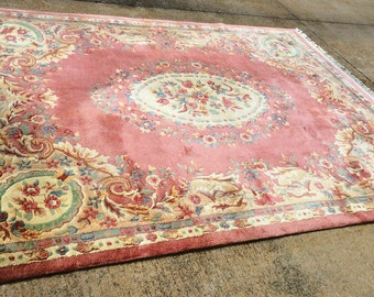 Vintage Handmade Aubusson Chinese Area Rug 9' x 12' in Excellent Condition...