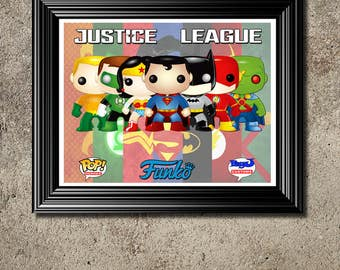 Justice League Funko Pop Wall Art