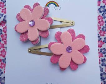 Pink glitter foam flower hair clasps