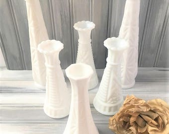 White Glass Vases / Lot of White Glass Vases / White Glass Bud Vases / Set of White Glass Vases / Wedding Decor / White Wedding Decor