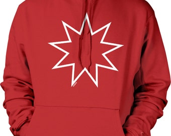 Nine Pointed Star, Bahai Symbols Hooded Sweatshirt, NOFO_00689