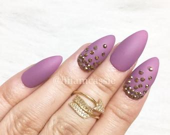 Set if 3d Rhinestones Purple Matte Stiletto Press on Nails