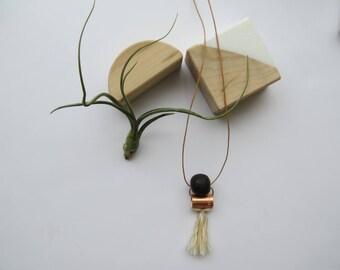 Lotte // clay, copper & tassel necklace