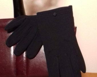 1950's black nylon gloves.