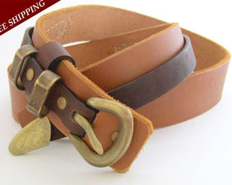 Bronze buckle belt - Handcrafted leather belt - Natural cow leather belt - Two colored leather belt - Men's belt - Women's belt