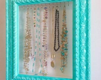 Jewelry Organizer with Hooks, Shabby Chic Jewelry Organizer, Necklace Hanger, Ornate Jewelry Organizer, Jewelry Holder, Ornate Wall Frame