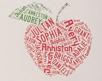 Teacher Appreciation End of School Year Gift Idea Student Names Apple Art Digital Printable Personalized