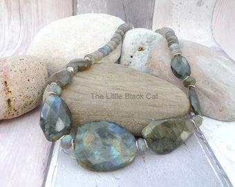 Labradorite Grey Necklace, Labradorite Jewellery, Grey Jewellery, Gemstone Necklace, Labradorite, Womens Gift, Ladies Present, Gift For Her