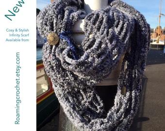 Handmade Crocheted Chunky, Cosy Infinity Scarf