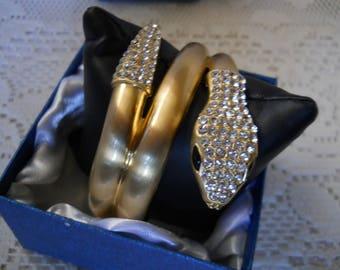 Swarovski Crystal Gold Tone Snake Bracelet #140