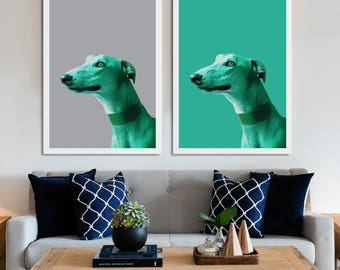 Dog print poster, Dog wall art, Painting of dog, Greyhound art, Wall art about dogs, Art prints of dogs, Dog art prints, dog lover wall art