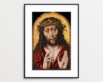 The Man of Sorrows - Aelbert Bouts- Religious Art - Crown of Thorns - Jesus Art Print - Jesus Painting - Christ - Religious Wall Art