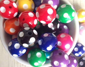 24mm polka dot bubblegum beads assorted colors (10ct) gumball beads chunky beads wholesale jewelry supply