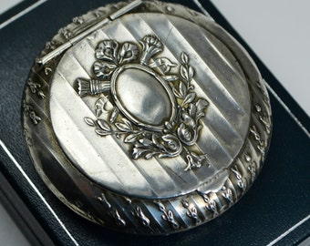 Antique FRENCH Solid Silver Mirrored Lid COMPACT - Larger Size & Empty Cartouche
