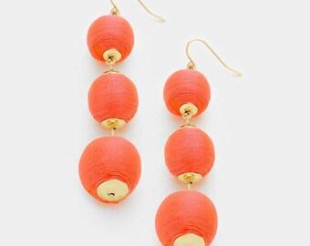 Coral Bon Bon Earrings, les Bonbons Earrings, Thread Ball Earrings, Triple Ball Earrings, Thread Wrapped Earrings, ball drop earrings