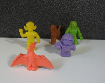 Selection of Diener Rubber Erasers Coloruful Vintage Toy Eraser Lot Pterodactyl, Alien, & More!