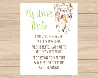 Dreamcatcher Printable My Water Broke Game, Boho Tribal My Water Broke Sign, Hippie Shower Game, Boho Drinks Game, Instant Download, 022-N