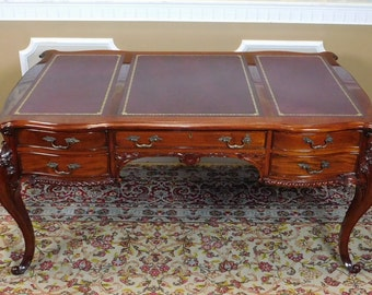 Solid Imported Mahogany Carved Chippendale Style Leather Top Writing Desk c1990s
