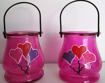Hand-Painted Valentines Day Themed Hanging Candleholders, featuring Heart-Shaped Balloons