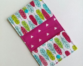 Feather wallet, women's boho wallet, ladies wallet, Card Wallet, slim wallet, minimal wallet