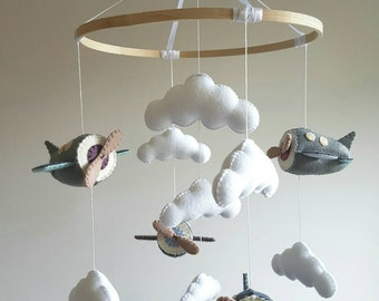 Custom Made Airplanes Nursery Mobile- choose your colours