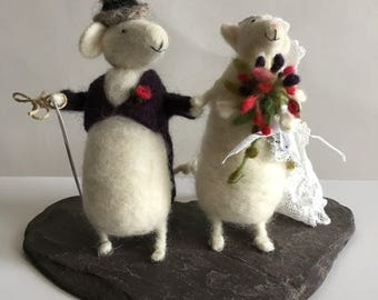 Handmade Needle Felted Wedding Mice