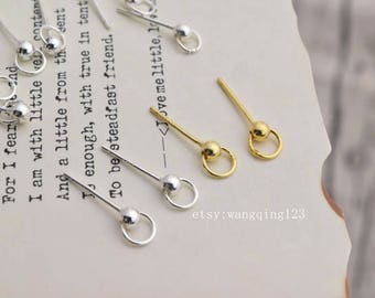 12 pcs (6 pairs) 925 sterling silver 3mm ball earring stud post with open ring loop ear posts in gold or silver LIGS