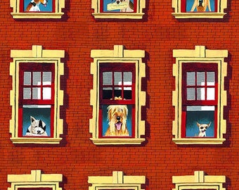 Brick Red Dogs Rule - Dogs in the Window Elizabeth's Studio Fabric Quilt   Craft Home Decor  Fat Quarter