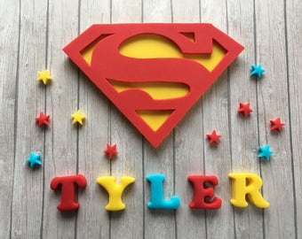 Large Edible fondant sugar personalised Superman logo cake topper set - Superman party