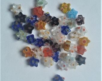40 multicoloured star shaped millefiori beads