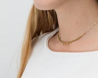collier ras de cou court Mély plaqué or gold filled et perles japonaises kaki minimaliste boho bobo