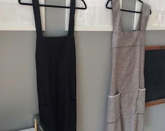 Pinafore Apron/Black Apron/Japanese Apron, Homestead Apron/Pinafore Dress/Apron Dress/Size M