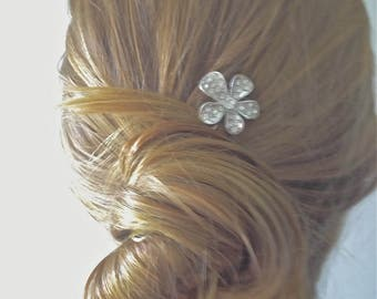 Hair Pin Bridal or Formal Hair Accessory- Silver Tone with Rhinestones