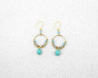 Hypoallergenic Silicone Turquoise and Beads Circle Earrings
