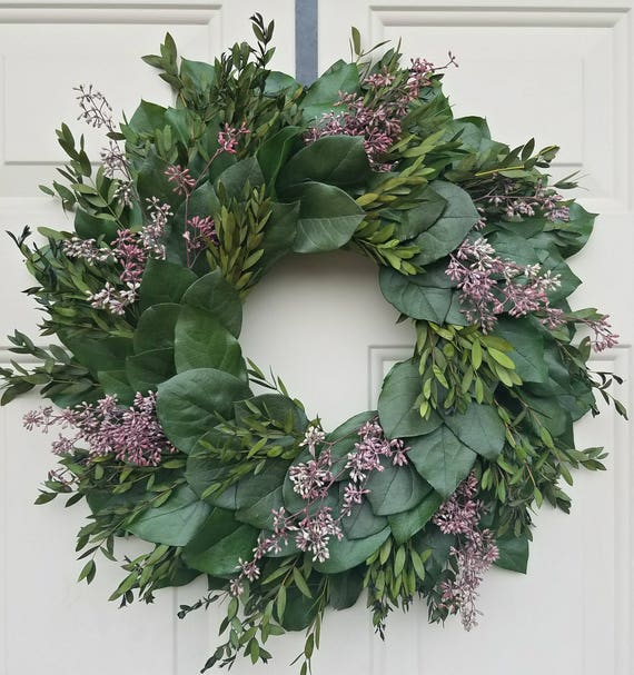 Preserved wreath, custom wreath, teardrop eucalyptus wreath, leaf wreath, large wreath, indoor wreath, eucalyptus wreath, natural wreath