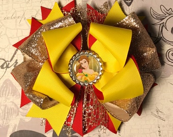 Princess Bow, Princess Headband, Belle Bow, Belle Headband, Beauty and the Beast Bow, Belle Hair Bow