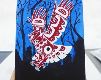Night Owl Acrylic painting, Original acrylic painting, hand painted in canada, native owl, Native american