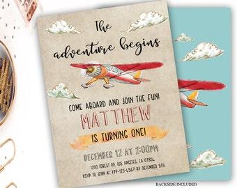 retro airplane birthday invitation, vintage airplane birthday invitation, boy birthday invitation, rustic airplane birthday, aviator party