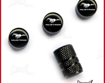 FORD MUSTANG Set Of 4 Lasered Logo Tire Valve Caps (SKU-17824)