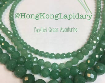 Faceted green aventurine beads 5mm, 6MM, 8MM or 10MM you choose your size!!!