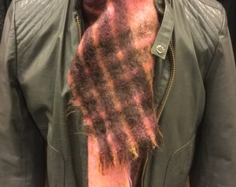Vintage Mohair mixed Pink with Orange with Dark Brown