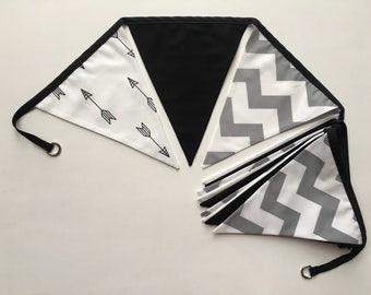 Black, white, grey double-sided fabric bunting