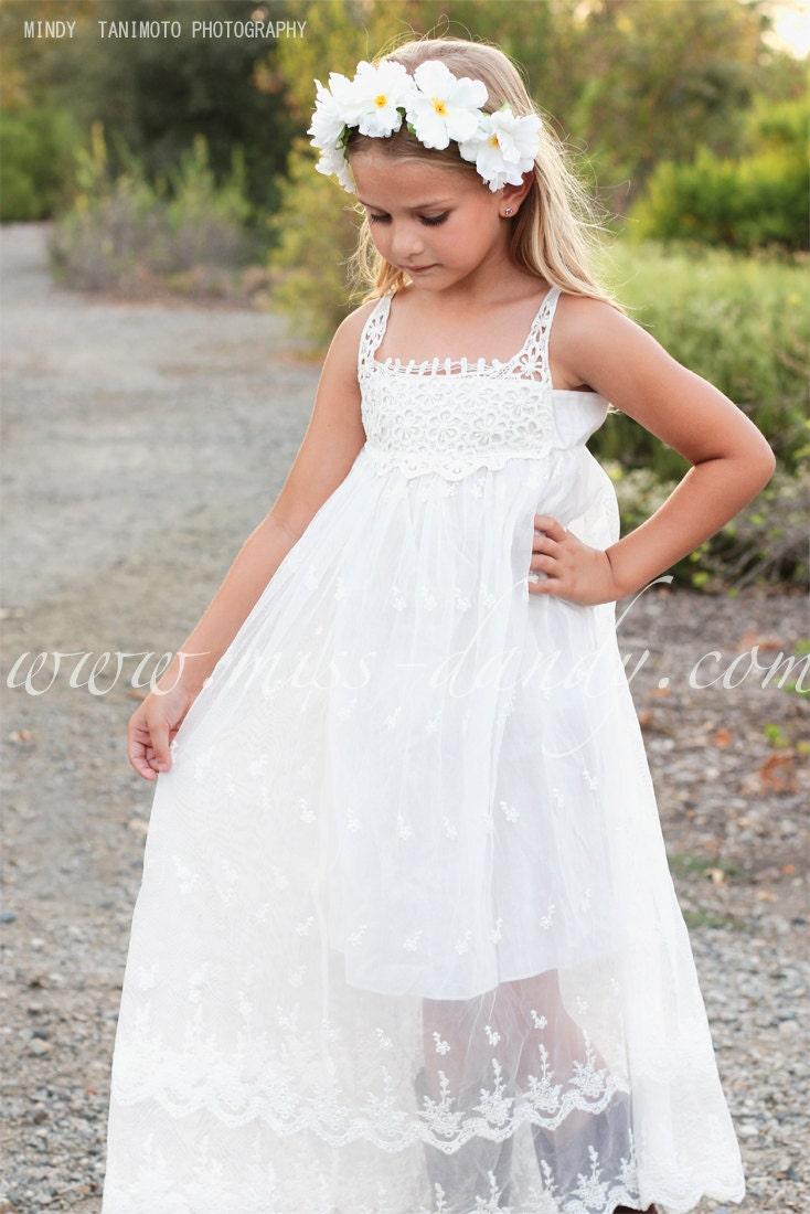 Flower Girl Dress, Boho flower girl dress, Lace girl dress, Lace baby Dress, Country White Bohemian Flower girl, Beach Girl Dress,Jade Dress