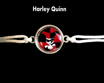 Harley Quinn Bracelet, harley quinn jewelry, joker charms, suicide squad jewelry, kids jewelry, silver, pendants, jewelry sets, party favors