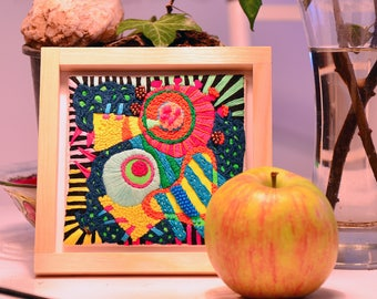 Decorative Wall Hanging - Contemporary Abstract Embroidery - Colorful Abstract Handmade Art - Neon Colors - Gift Idea - Home Decor