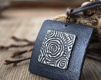 Polymer Clay Jewelry Pendant Necklace Blue Silver Celtic Square Ethnic Minimal Polymer Clay Jewelry Pendant Necklace Mothers Day Gift